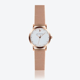 Marshmallow White Watch in Rose Gold ⌀28