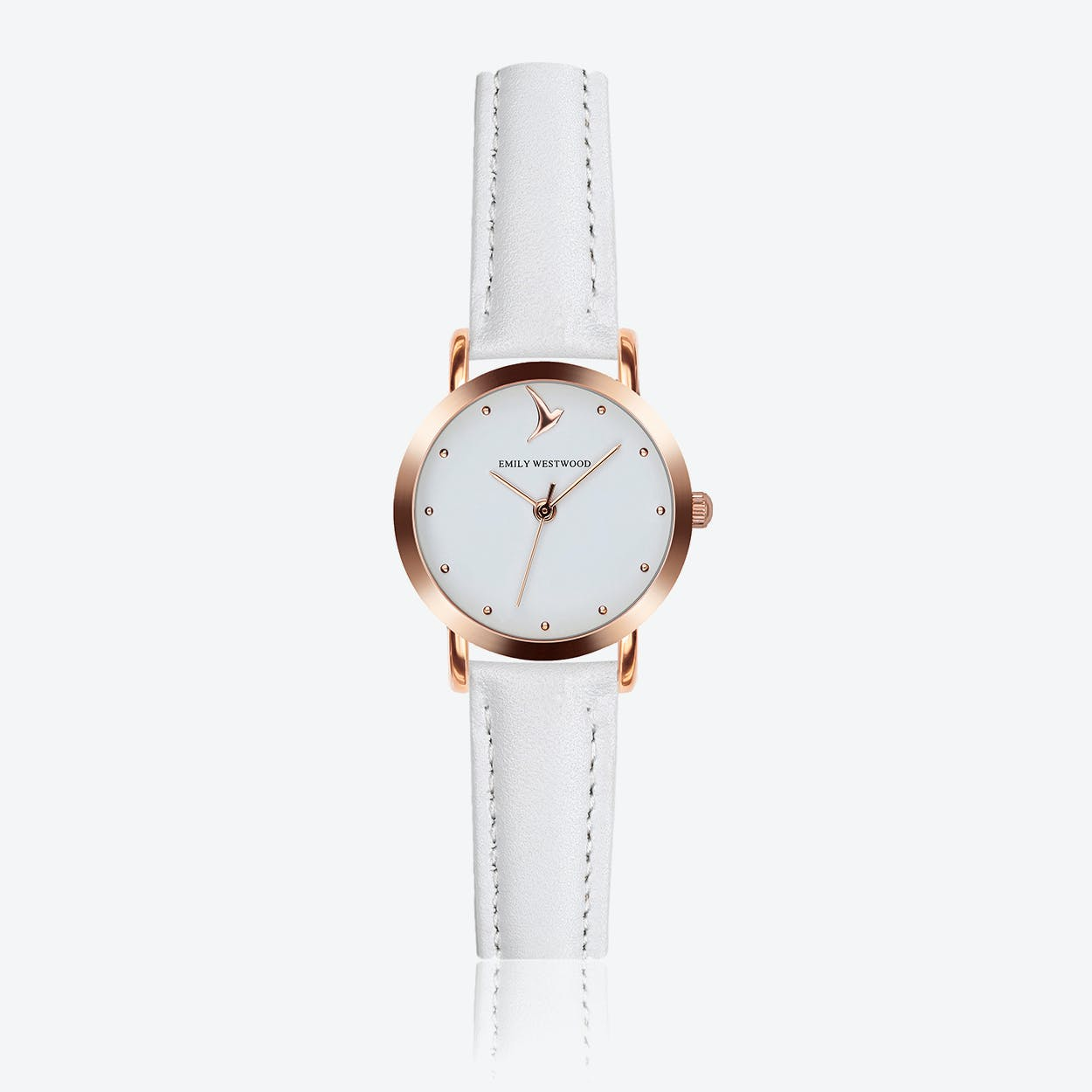 Marshmallow White Watch in White Leather/ Rose Gold Case ⌀28