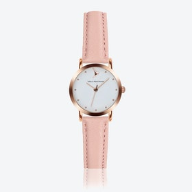 Marshmallow White Watch in Pink Leather/ Rose Gold Case ⌀28