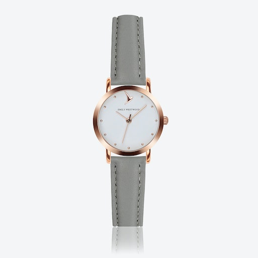 Marshmallow White Watch in Grey Leather ⌀28