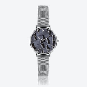 Feather Print Watch in Silver ⌀33