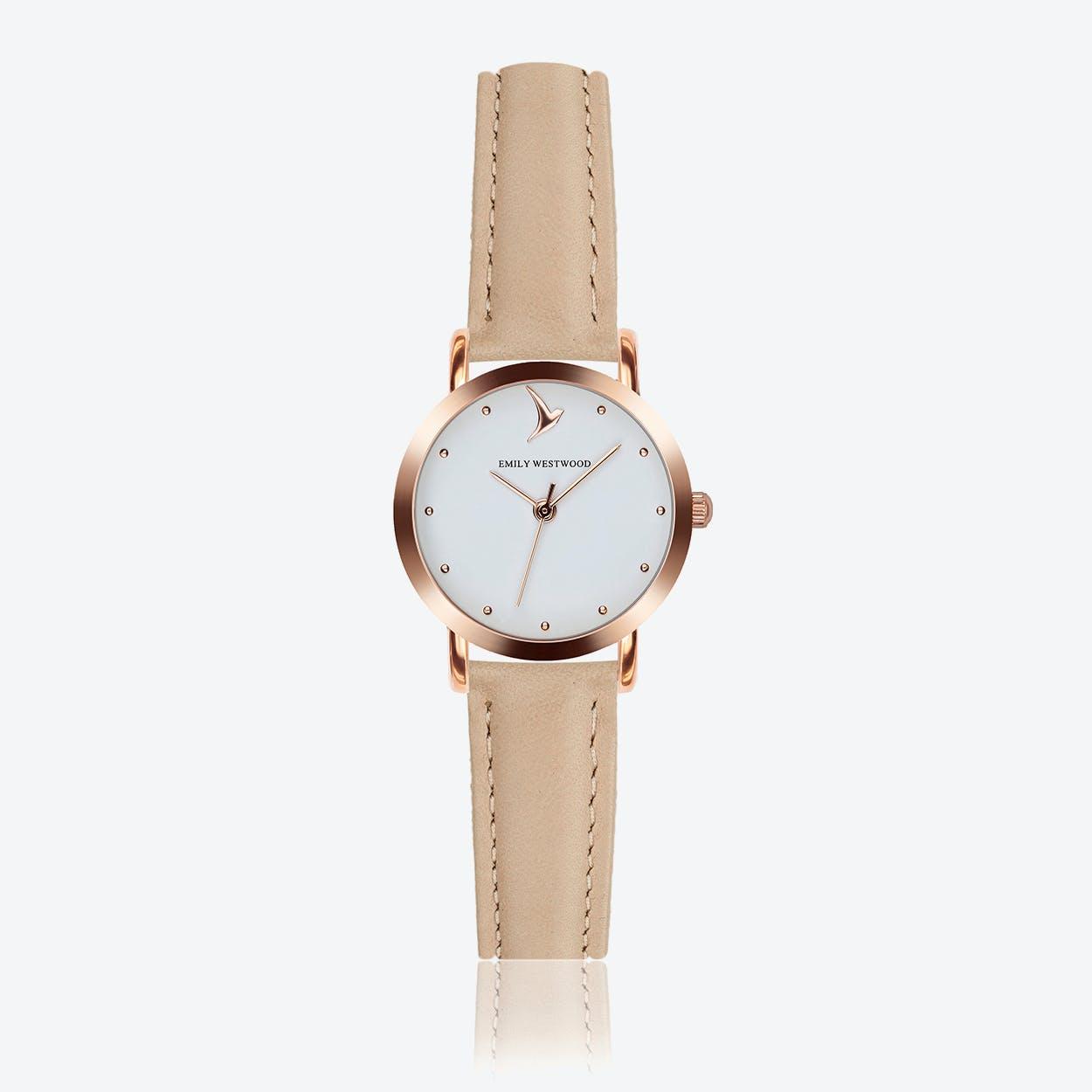 Marshmallow White Watch in Cream Powder Leather ⌀28