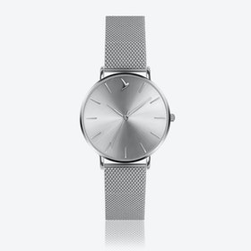 Silver Sunray Watch in Silver/ Silver Case ⌀38