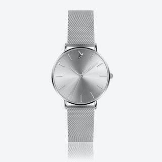 Silver Sunray Watch in Silver/ Silver Case ⌀38