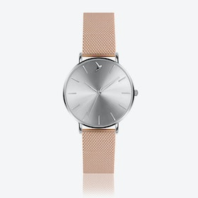 Silver Sunray Watch in Silver/ Rose Gold Case ⌀38