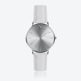 Silver Sunray Watch in White Leather ⌀38
