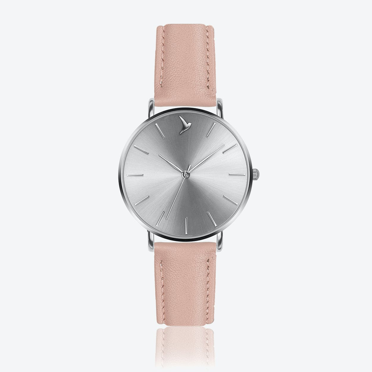 Silver Sunray Watch in Pink Leather ⌀38