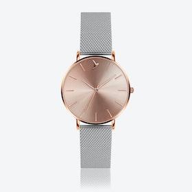 Cream Sunray Watch in Silver ⌀38
