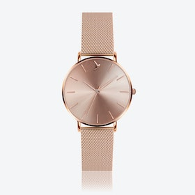 Cream Sunray Watch in Rose Gold ⌀38