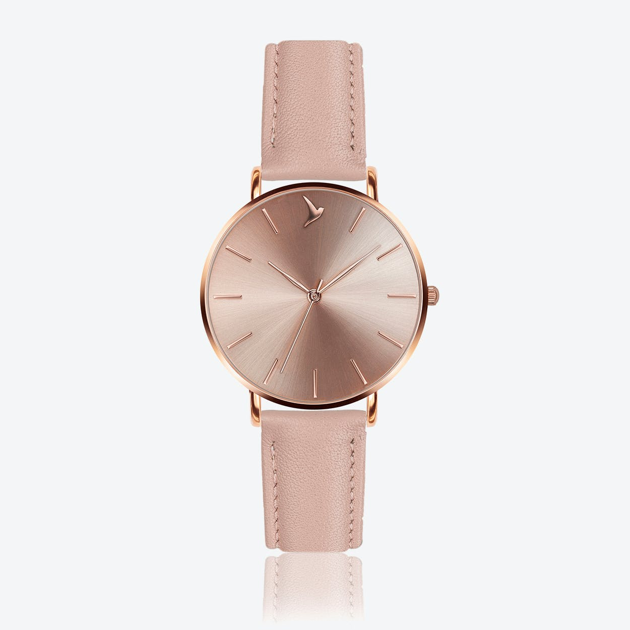 Cream Sunray Watch in Pink Leather ⌀38