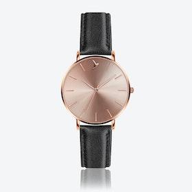 Cream Sunray Watch in Black Leather ⌀38