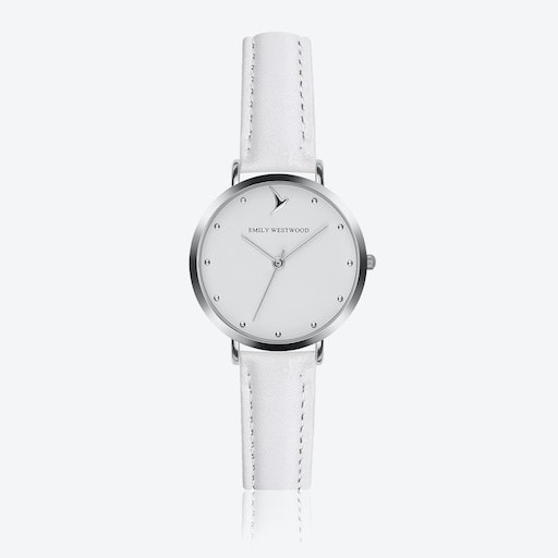 Marshmallow White Watch in White Leather/ Silver Case ⌀33