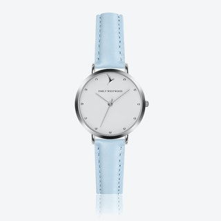 Marshmallow White Watch in Light Blue Leather/ Silver Case ⌀33