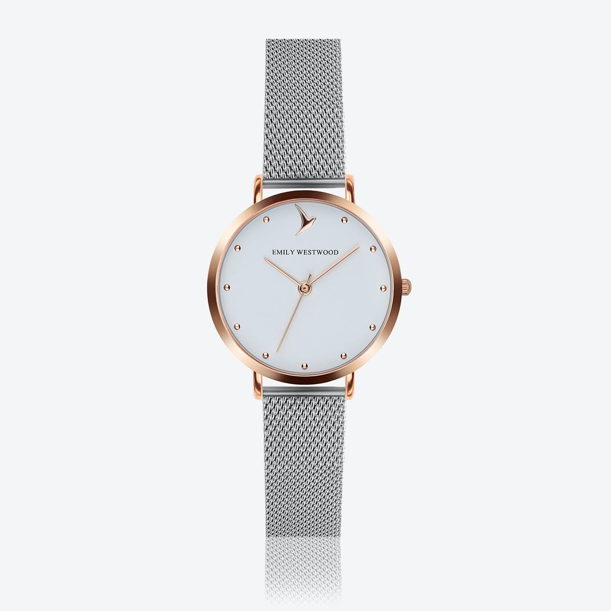 Marshmallow White Watch in Silver/ Rose Gold Case ⌀33