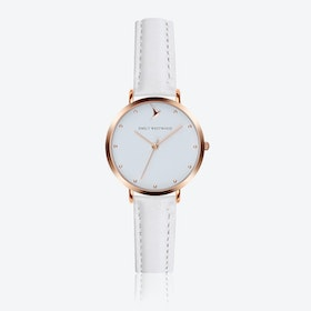 Marshmallow White Watch in White Leather/ Rose Gold Case ⌀33