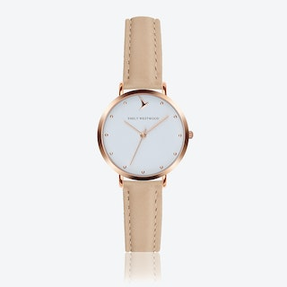 Marshmallow White Watch in Cream Powder Leather ⌀33