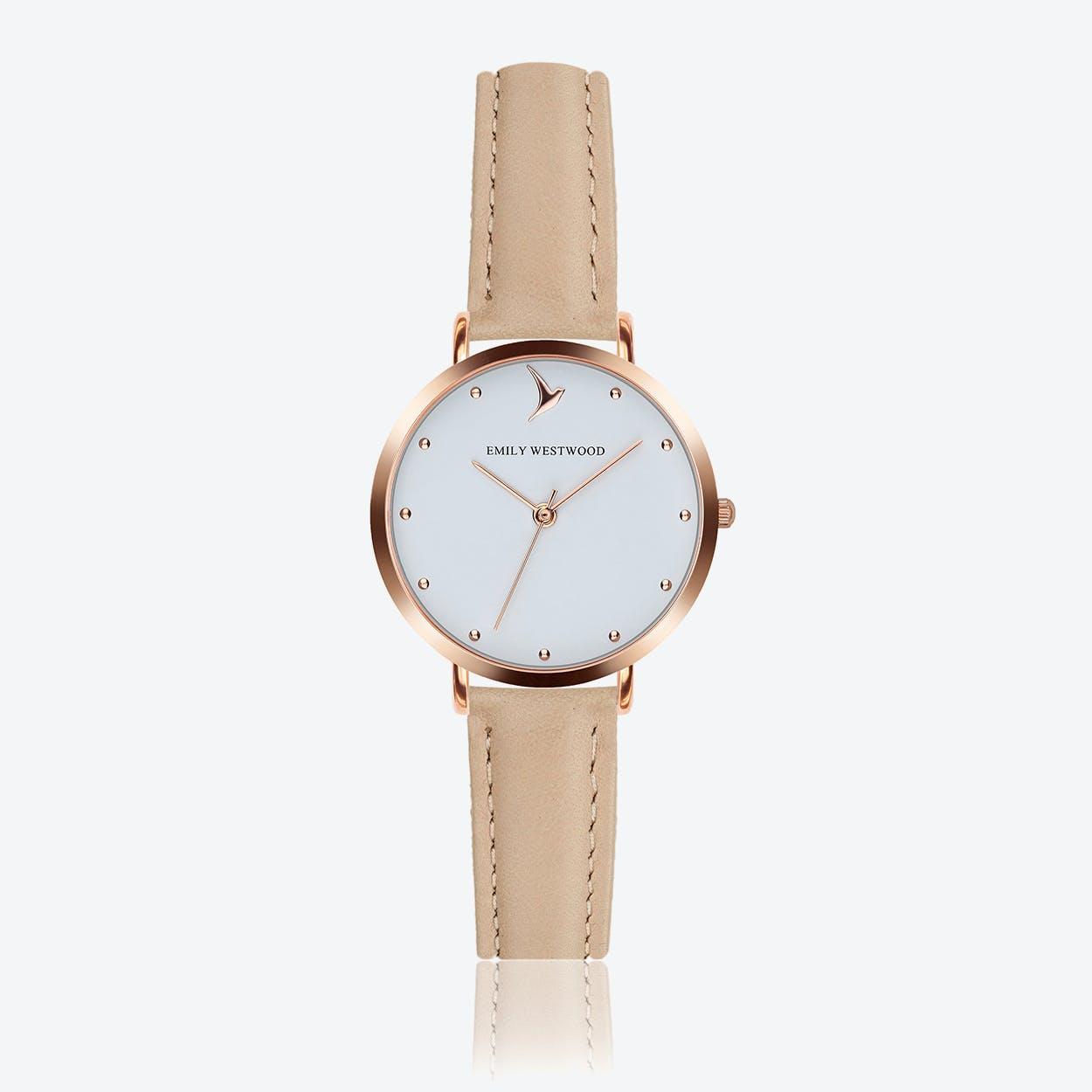 Marshmallow White Watch in Cream Powder Leather ⌀33