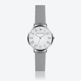 Marshmallow White Watch in Silver/ Silver Case ⌀33