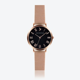 Black Dial Watch in Rose Gold ⌀33