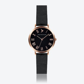 Black Dial Watch in Black ⌀33