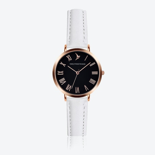 Black Dial Watch in White Leather ⌀33