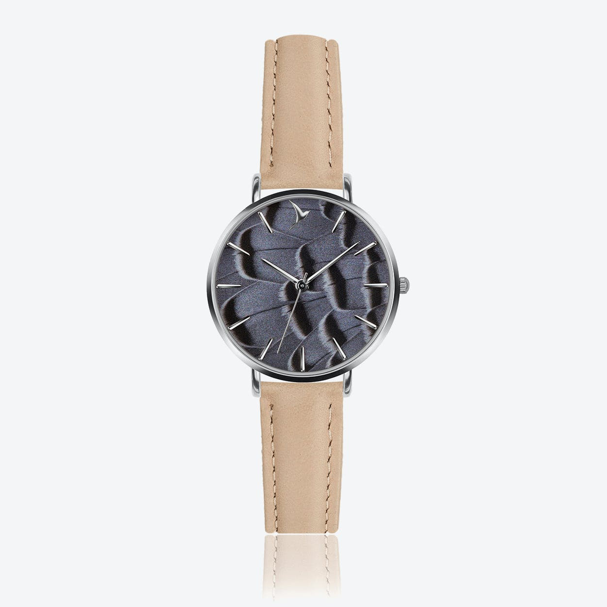 Feather Print Watch in Cream Powder Leather/ Silver Case ⌀33