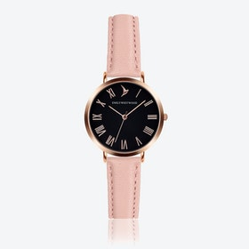 Black Dial Watch in Pink Leather ⌀33