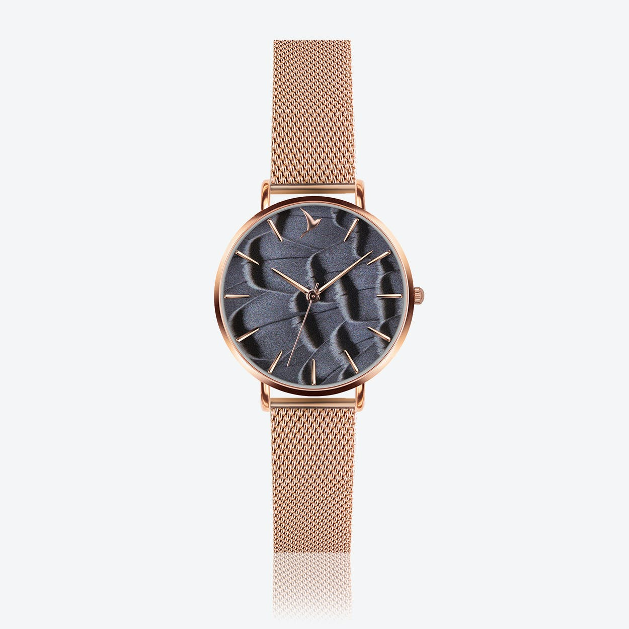 Feather Print Watch in Rose Gold ⌀33
