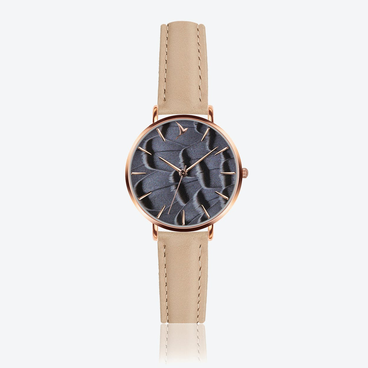Feather Print Watch in Cream Powder Leather/ Rose Gold Case ⌀33