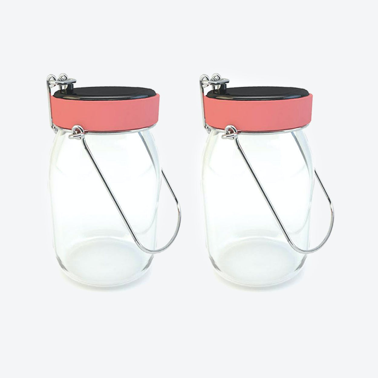 Solar Lamps - Set of 2 Glasses Lucioles Pot de Lait Touch Warm Pink
