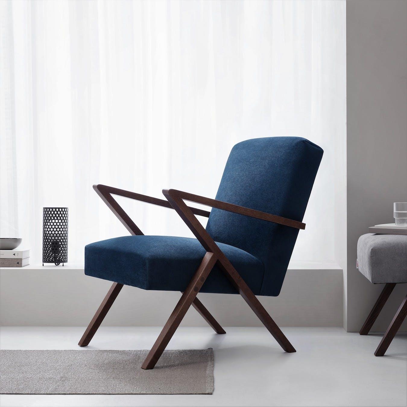 Retrostar Chair  -Velvet Line in Navy Blue