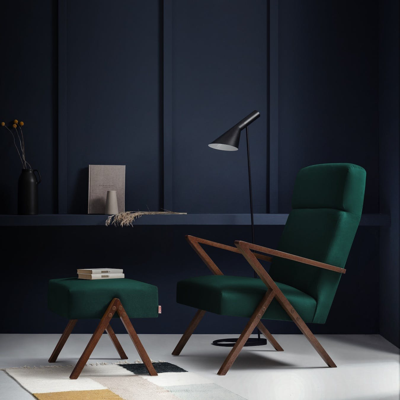 Retrostar Lounge Chair - Velvet-Line in Hunter-Green