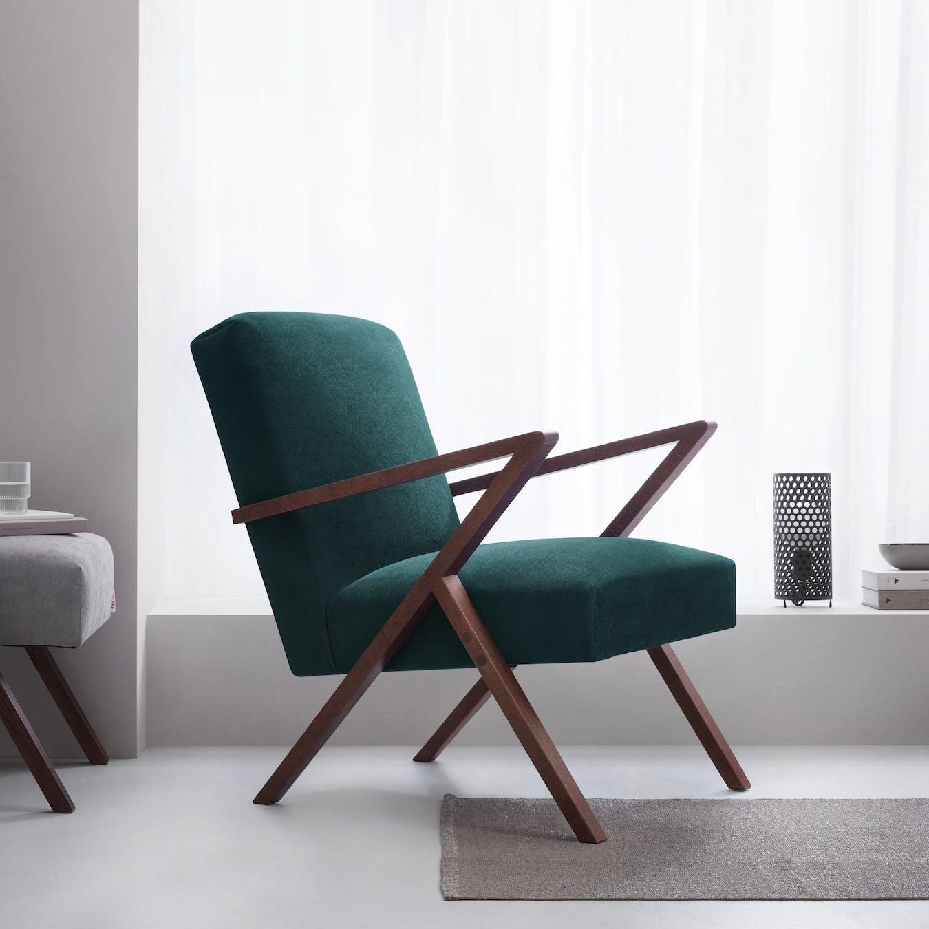 Retrostar Chair - Velvet Line in Hunter Green