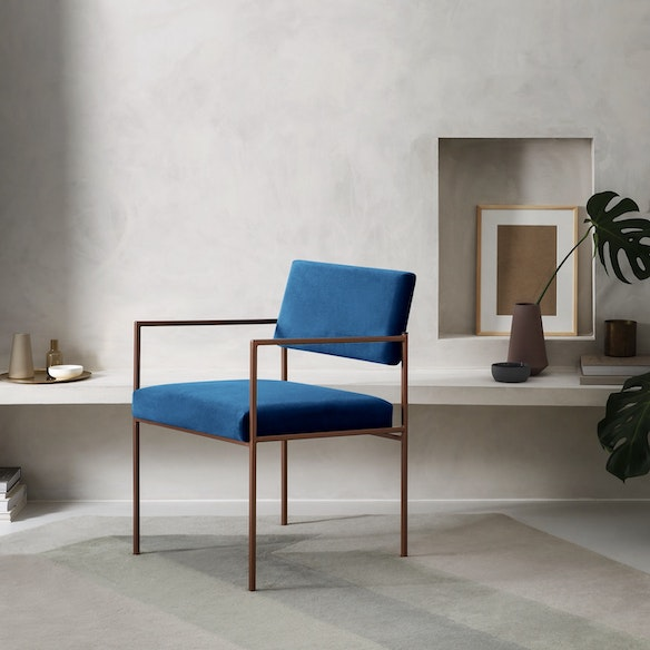 Home Living Accessories Cube Armchair Copper Velvet Line In Royal Blue