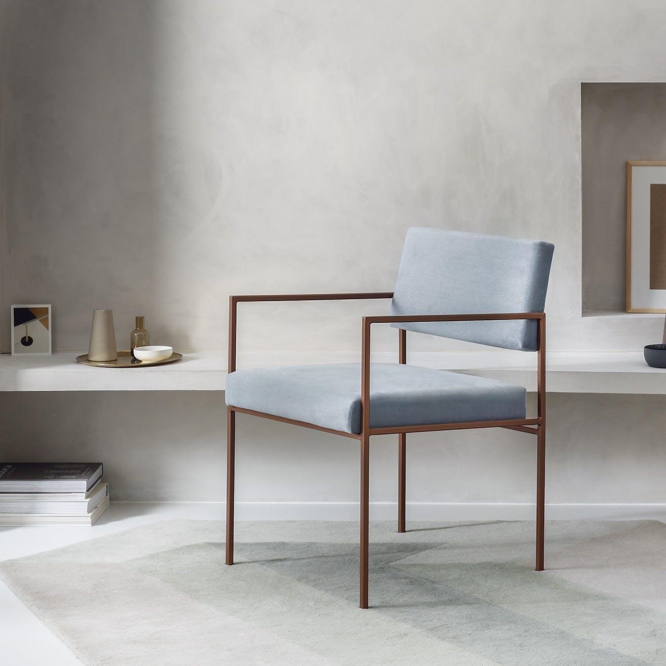 Cube Armchair Copper - Velvet-Line in Ice-Grey