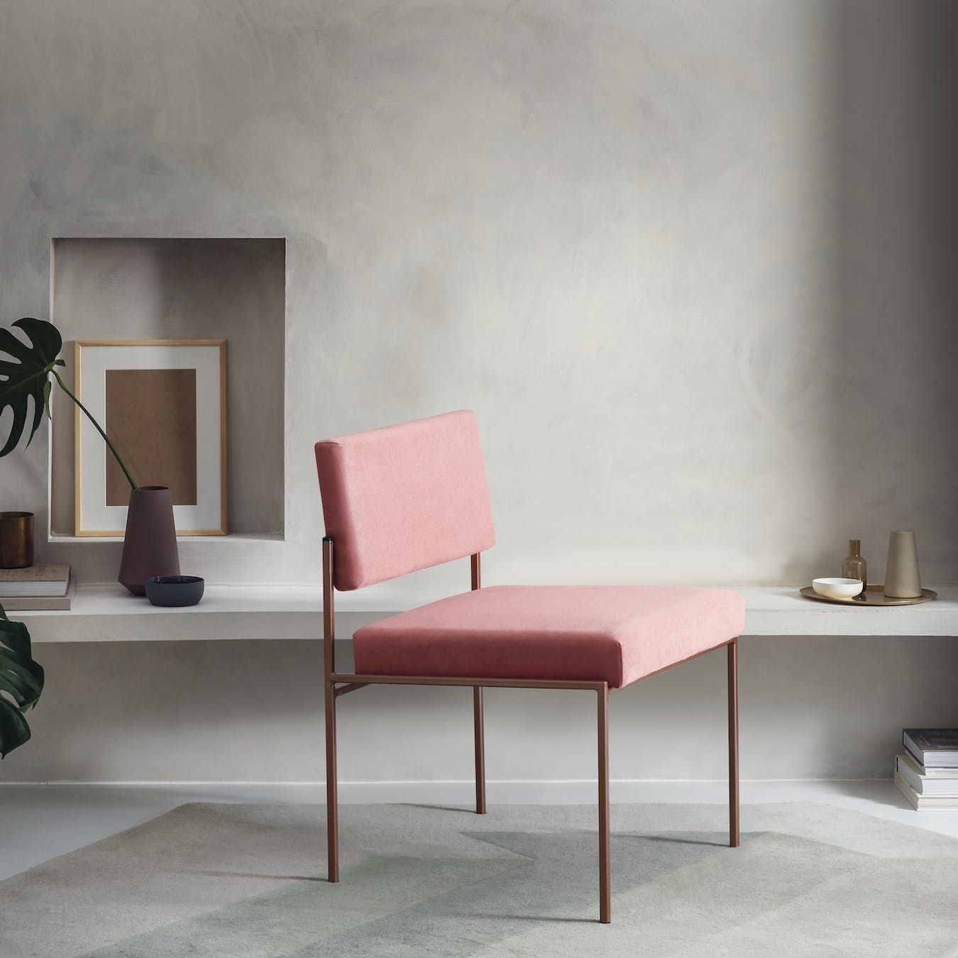 Cube Chair Copper - Velvet-Line in Vintage-Pink