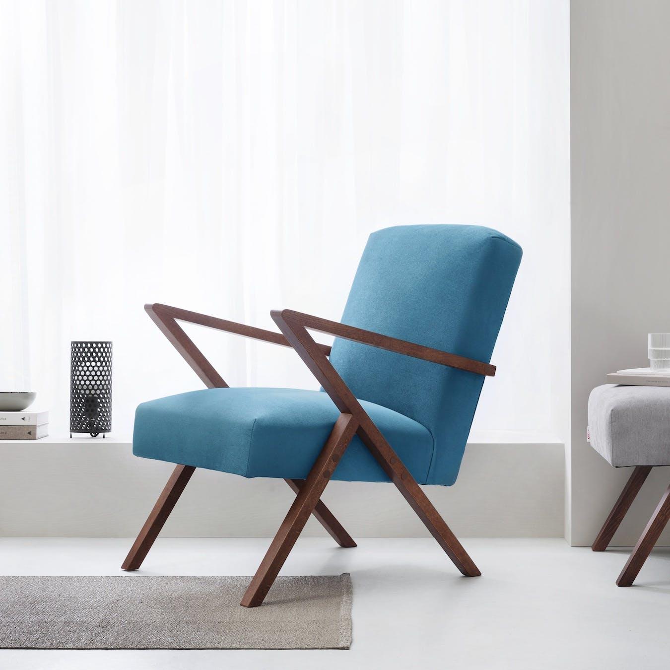 Retrostar Chair - Velvet Line in Ocean Blue