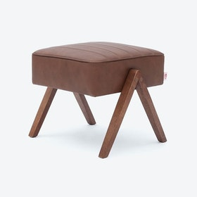 Retrostar Footstool in Leather