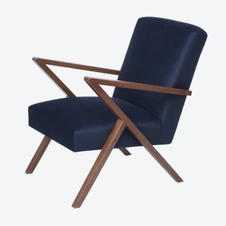 Retrostar Chair  -Velvet Line in Navy Blue