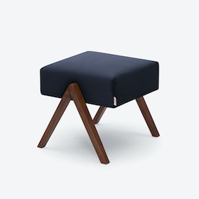 Retrostar Footstool - Velvet-Line in Navy-Blue