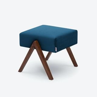 Retrostar Footstool - Velvet-Line in Royal-Blue