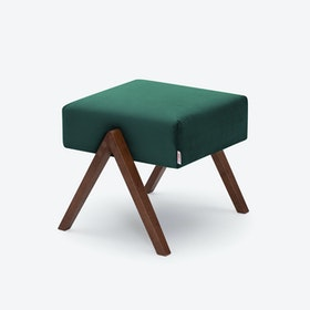 Retrostar Footstool - Velvet-Line in Hunter-Green