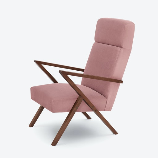 Retrostar Lounge Chair - Velvet-Line in Vintage-Pink