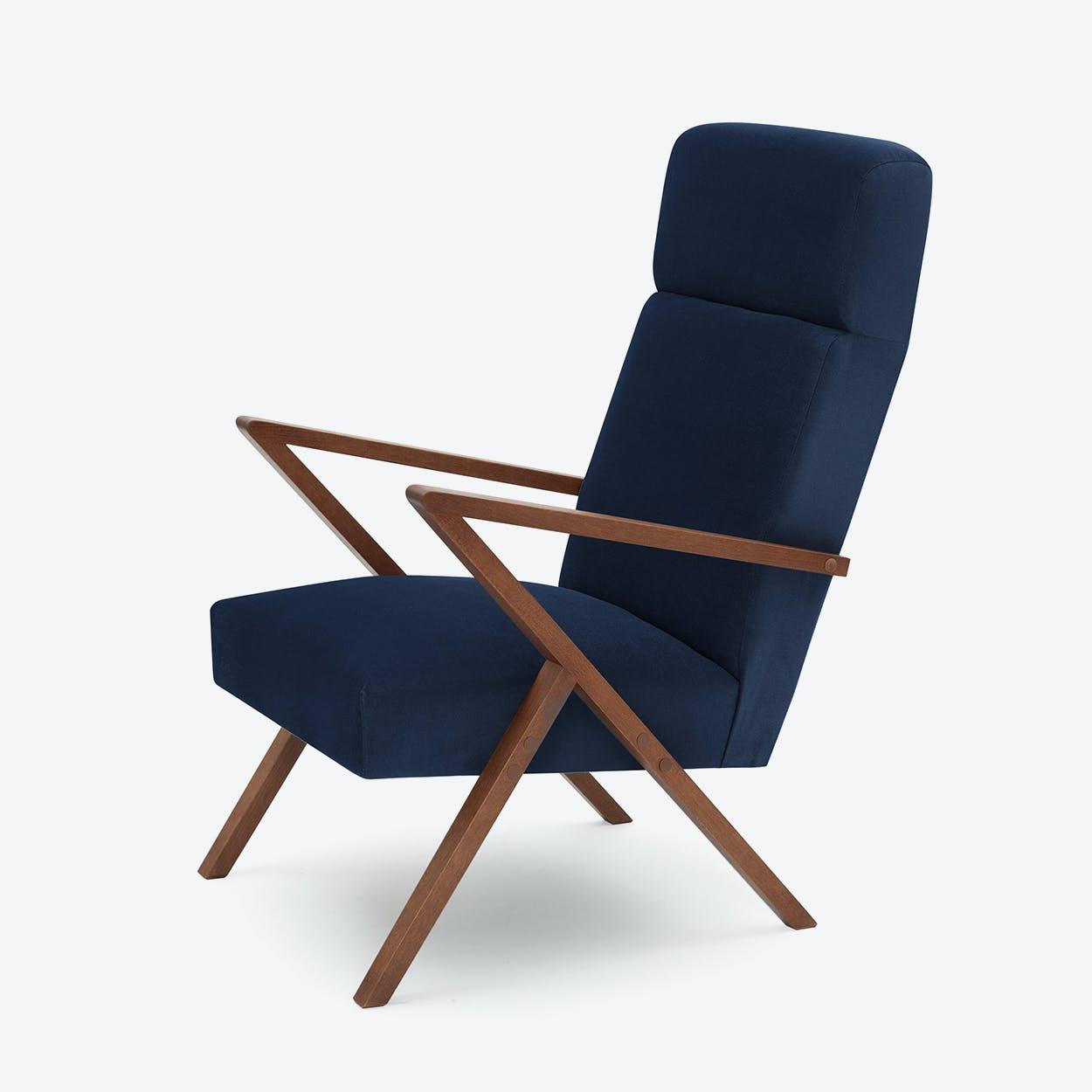Retrostar Lounge Chair - Velvet-Line in Navy-Blue
