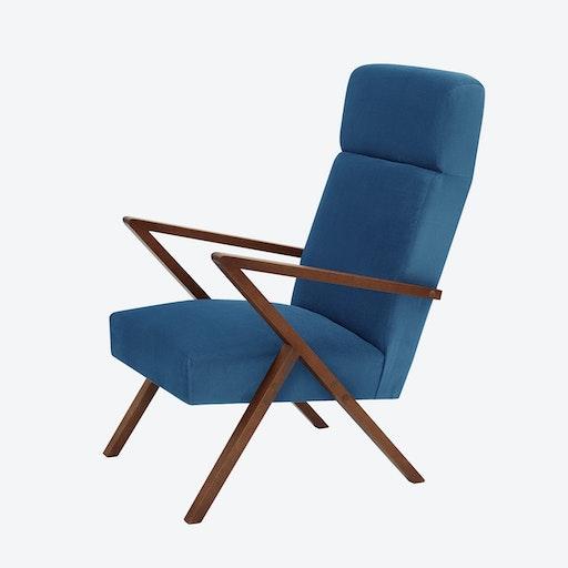 Retrostar Lounge Chair - Velvet-Line in Royal-Blue