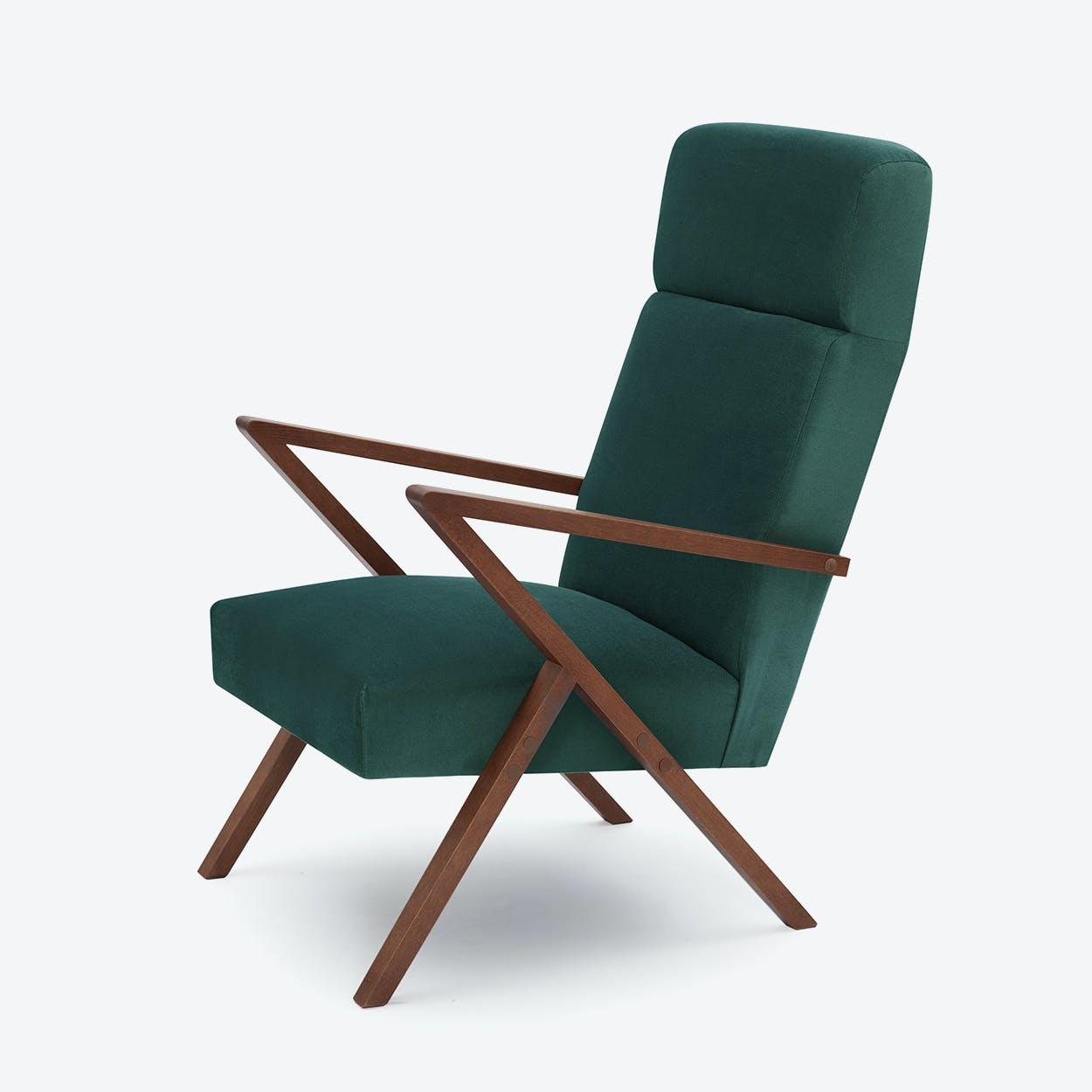 Retrostar Lounge Chair - Velvet-Line in Hunter-Green