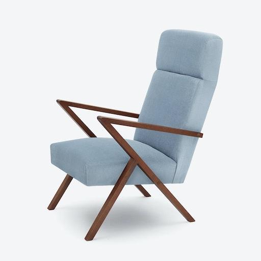 Retrostar Lounge Chair - Velvet-Line in Ice-Grey