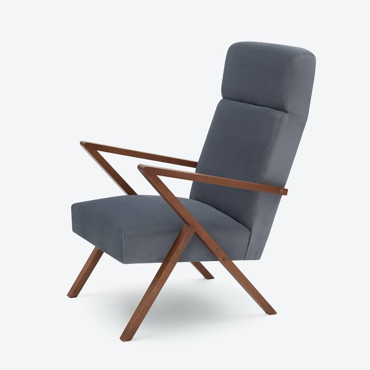 Retrostar Lounge Chair - Velvet-Line in Grey