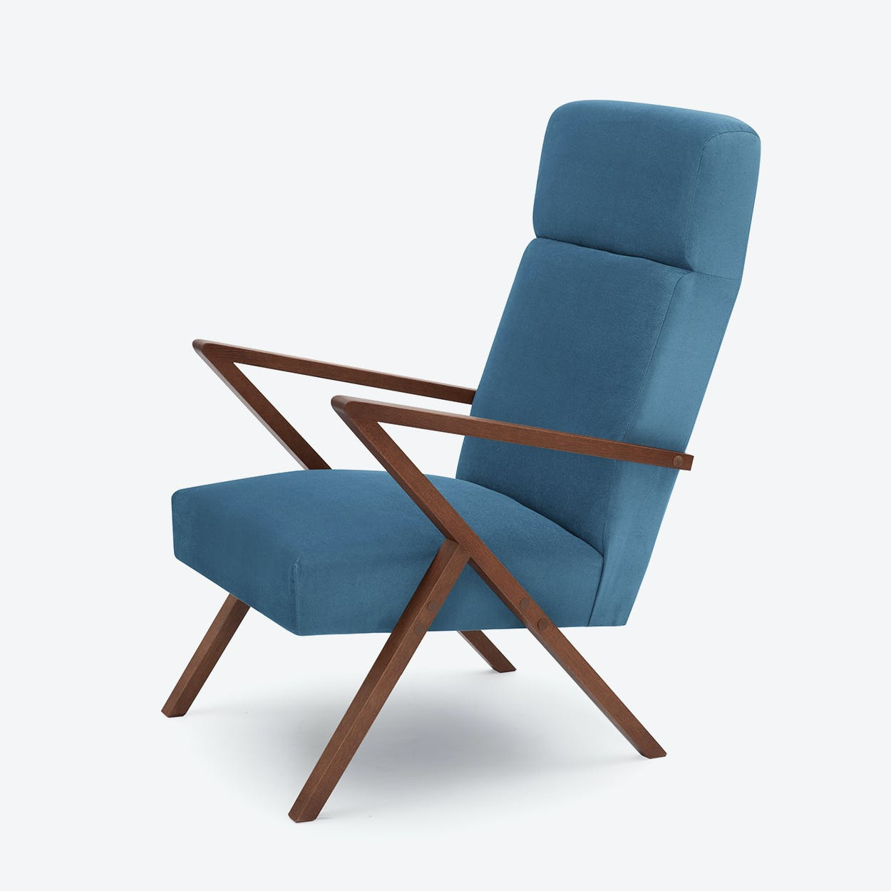 Retrostar Lounge Chair - Velvet-Line in Ocean-Blue