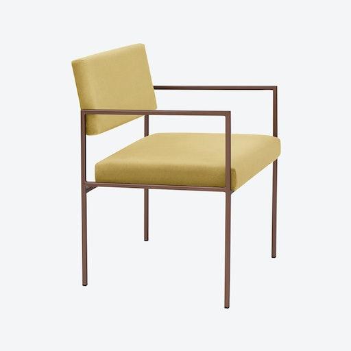 Cube Armchair Copper - Velvet-Line in Lemon-Yellow